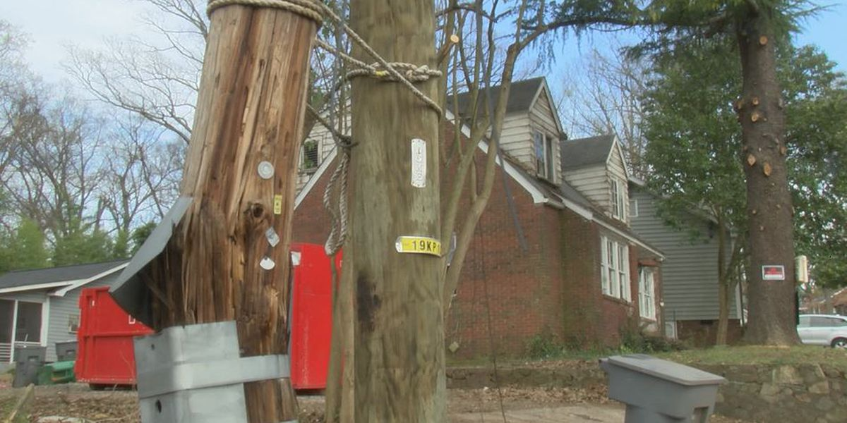 Why you're seeing old, snapped utility poles tied to new, sturdy ones
