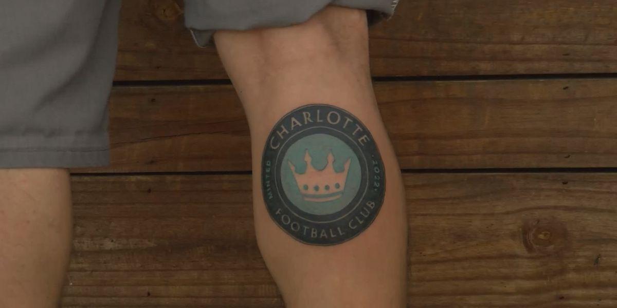 Soccer fan gets new Charlotte FC logo tattooed on leg