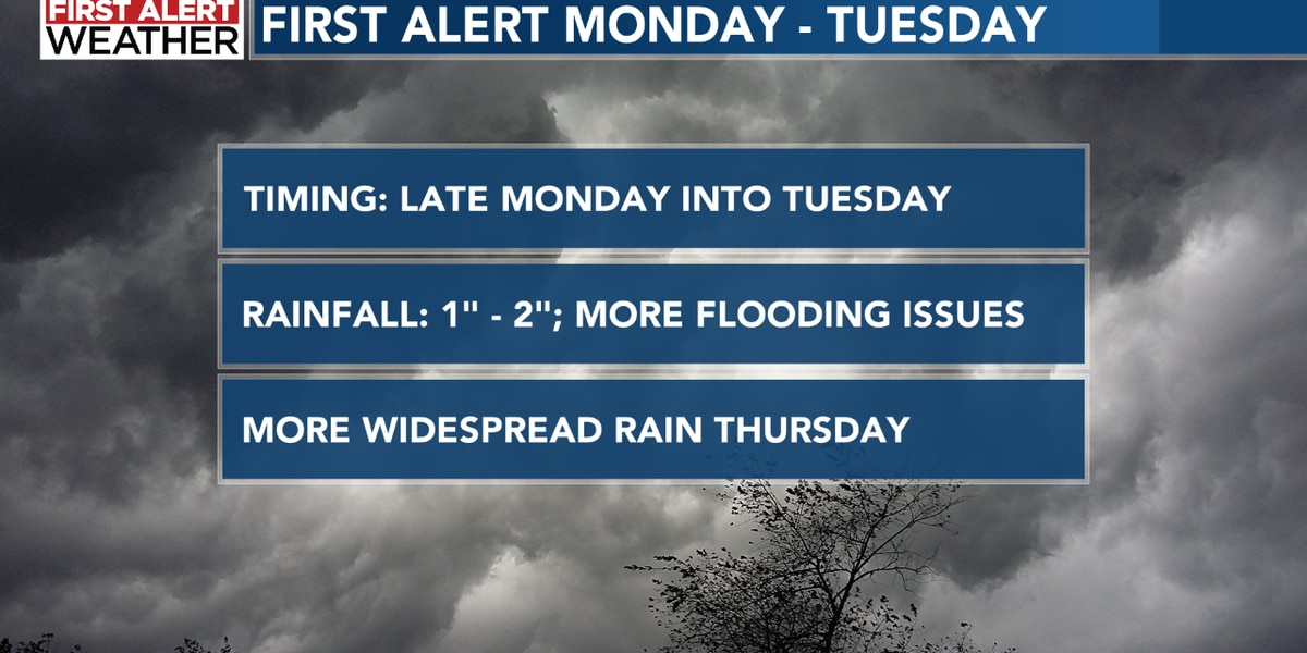 First Alert late Monday into Tuesday; More flooding concerns ahead