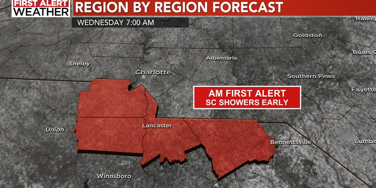 Morning First Alert for SC - then clear sailing for a few days!