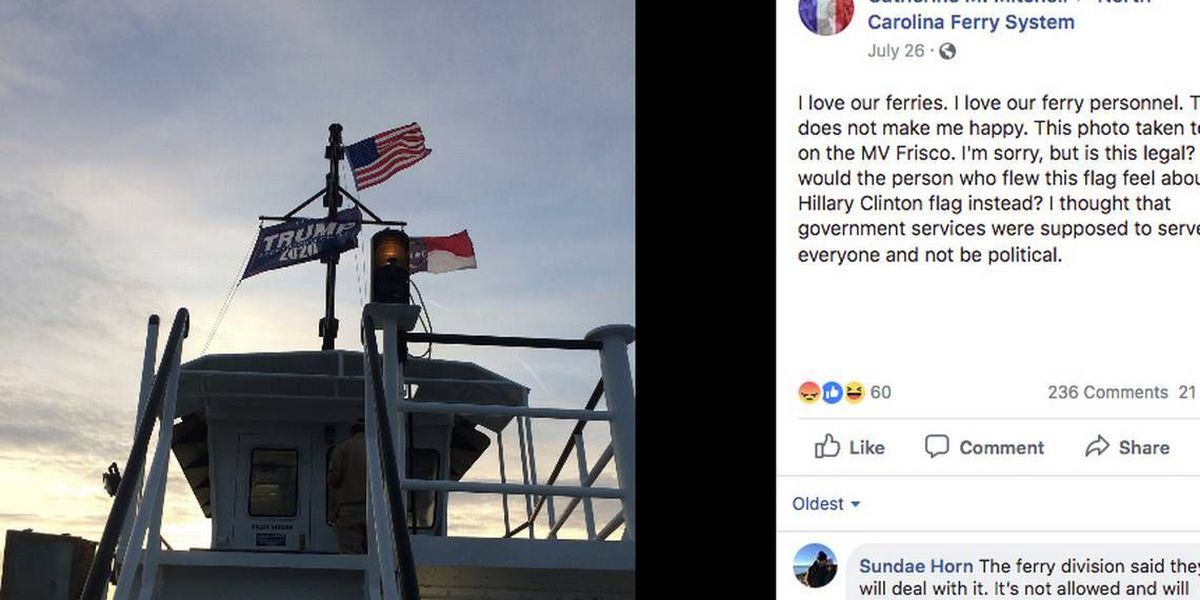 Crew members flew a Trump flag on a state ferry. Now they're suspended without pay.