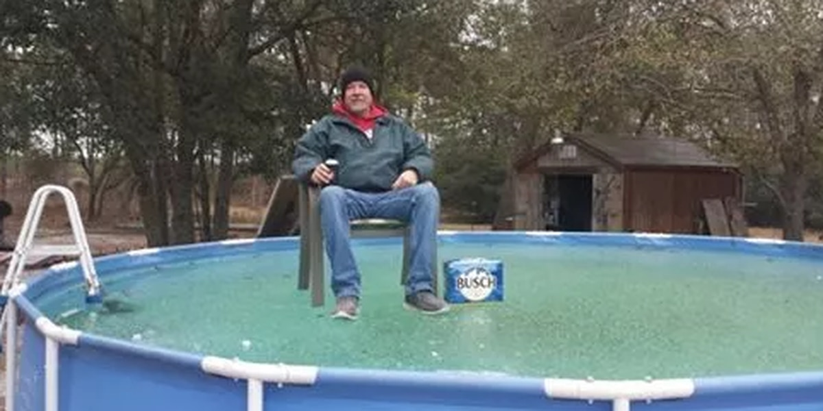 Who was that SC man photographed sitting on frozen pool, with a case of Busch?
