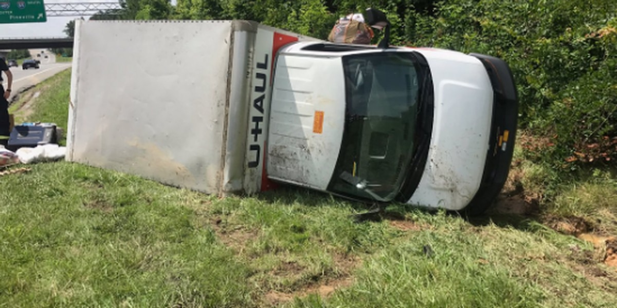 U-haul truck overturns on I-77 in north Charlotte