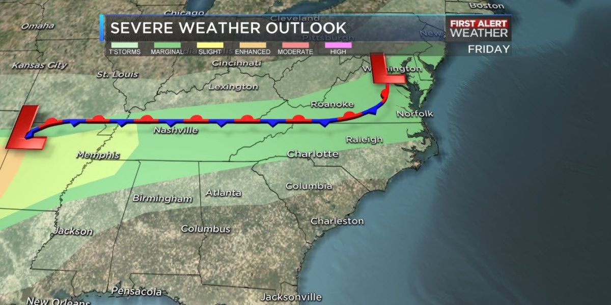 BLOG: Showers and storms Friday evening, First Alert Day Sunday