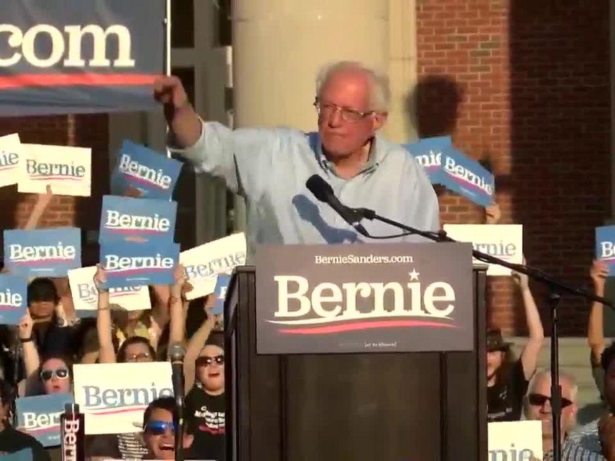 Bernie Sanders condemns new state anti-abortion laws during a rally in Charlotte