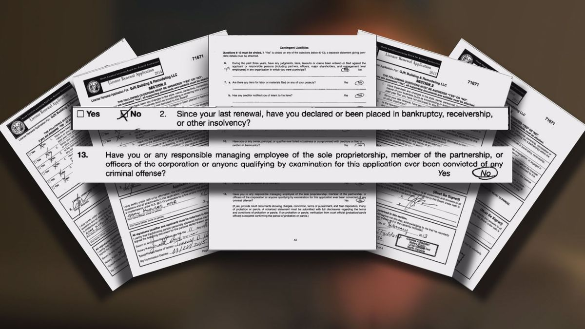 NC Licensing Board for General Contractors letting criminals, failed businessmen slip through