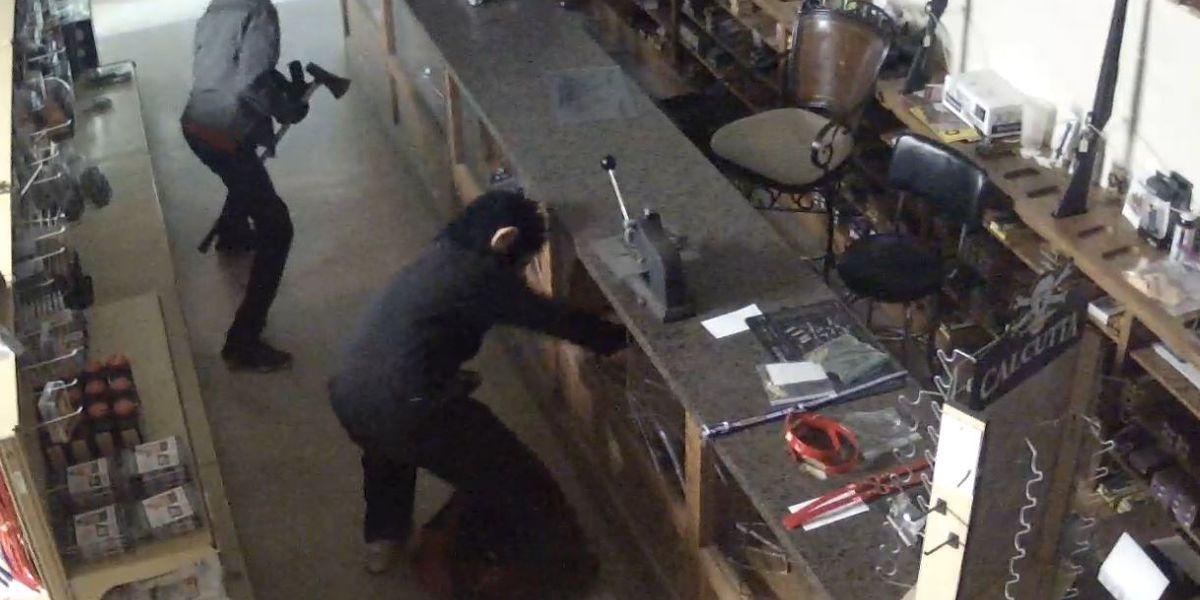 Burglars wielding ax, wearing monkey mask steal 17 guns