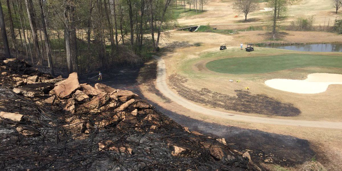 Firefighters battle brush fire on Crescent golf course
