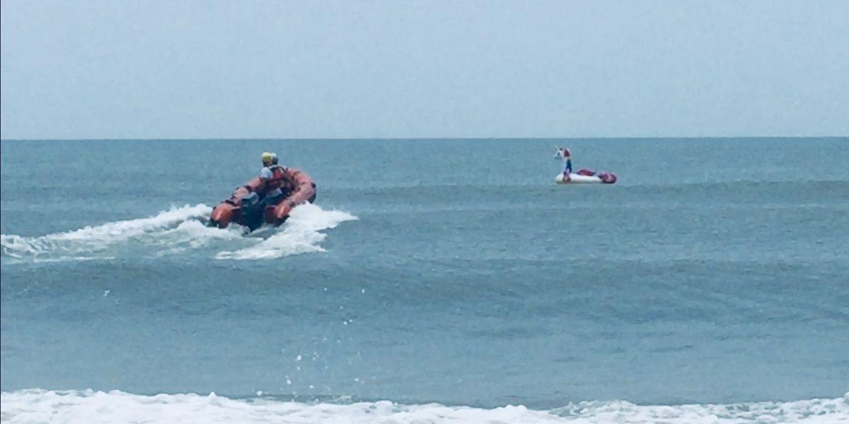 Boy on unicorn raft rescued at sea in NC