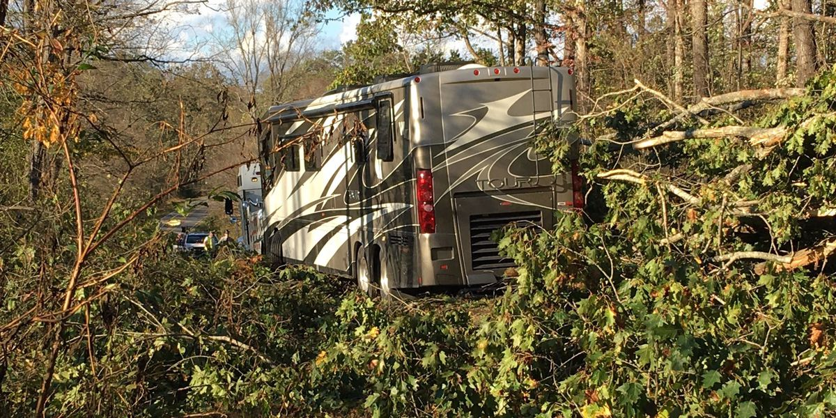 2 trapped inside RV after crashing into downed tree in Iredell County