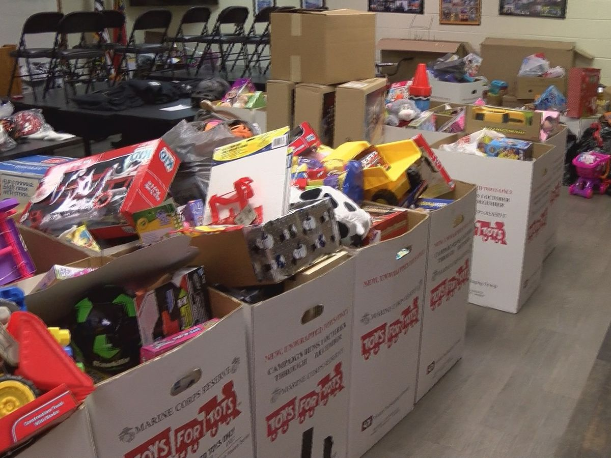 Gaston County firefighters flood department with Toys for Tots donations