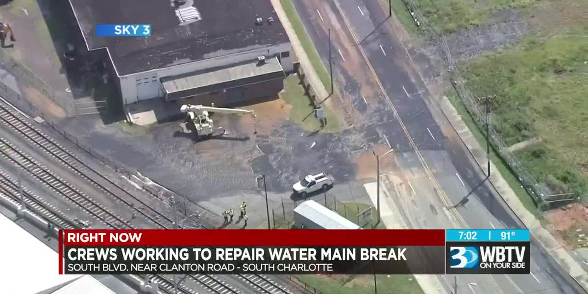 Crews working to repair water main break on South Boulevard