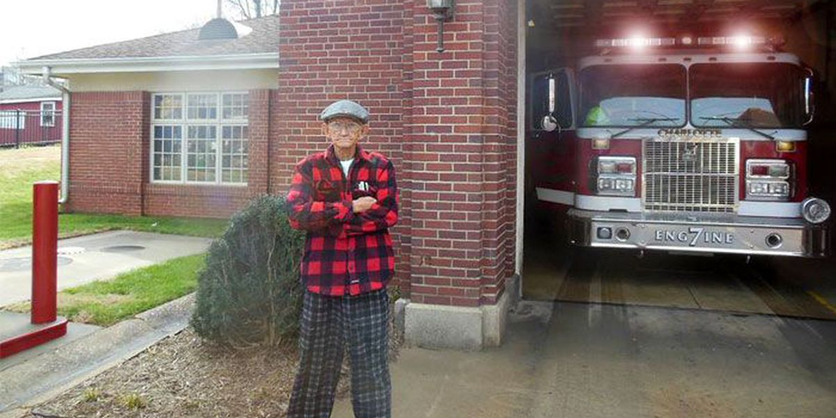 VIRAL PHOTO: Retired veteran promises to protect fire station during calls
