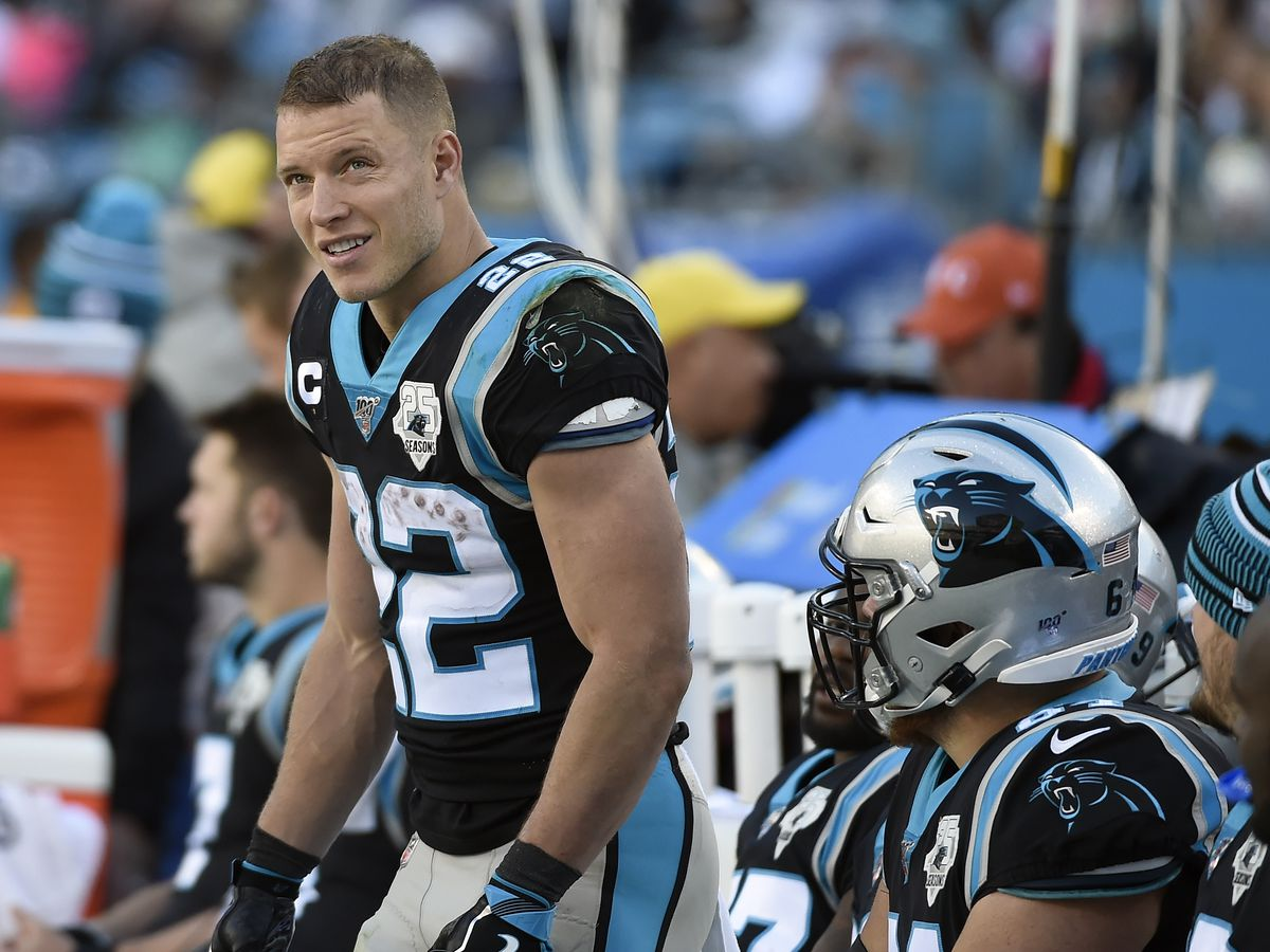 Christian McCaffrey appears at Panthers practice weeks after ankle injury, not yet cleared to play