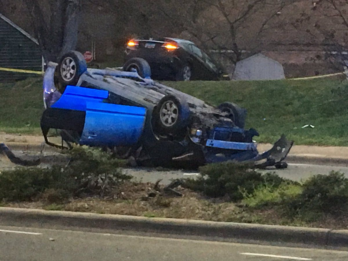 5 injured after car flips in two-vehicle crash in Charlotte