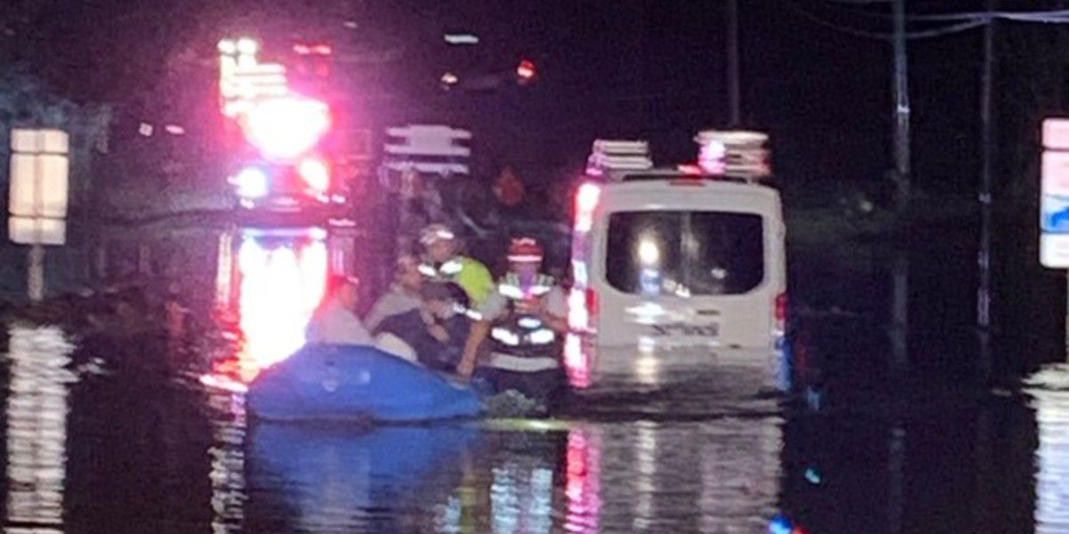 3 rescued after driving around barricades onto flooded road in Concord