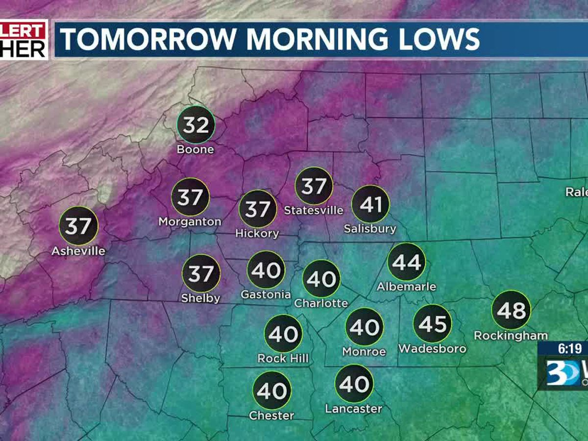 Freeze Warnings and Frost Advisories in effect for parts of the Carolinas