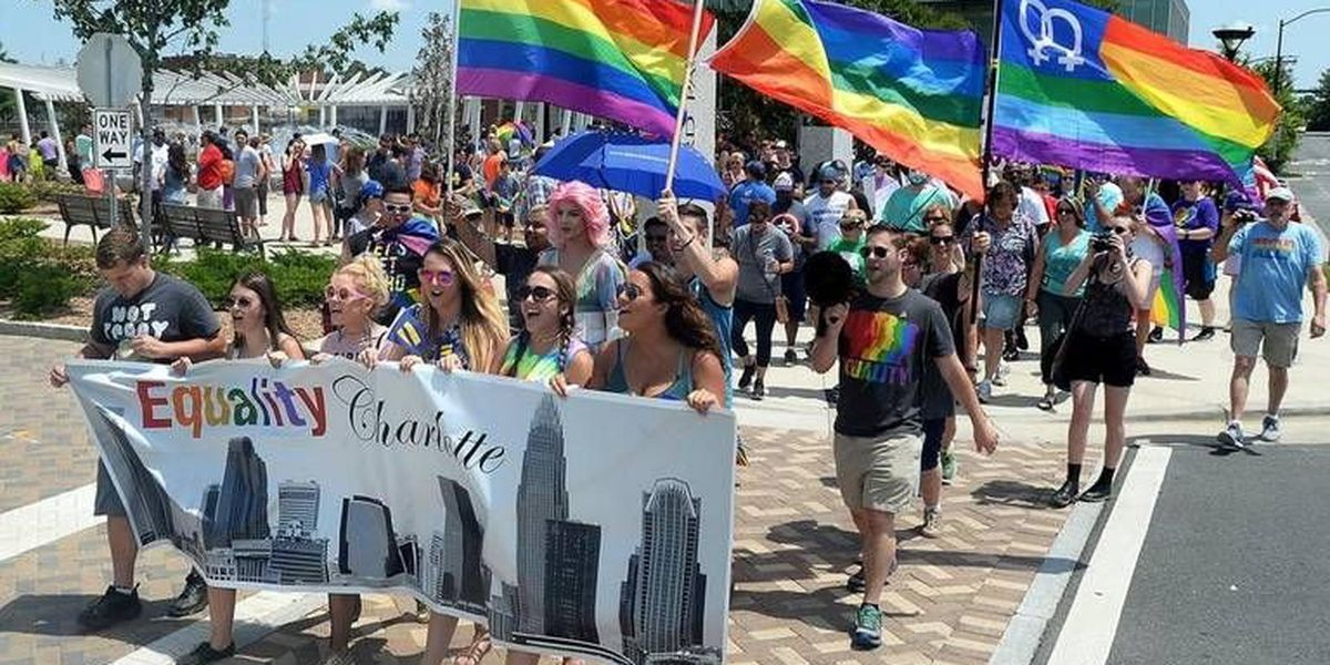 Hundreds march for LGBT rights in Charlotte – and also mock the president