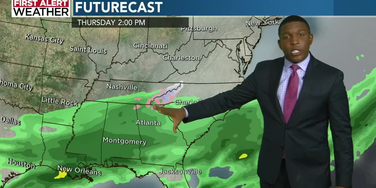 First Alert: Mostly cloudy skies turn rainy through Tuesday afternoon into Wednesday