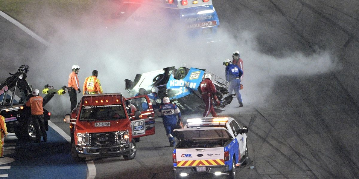 Denny Hamlin wins Daytona 500 ahead of serious crash involving Ryan Newman on final lap