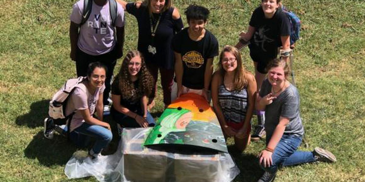 Area school students paint 'Turtles' to install on track for Bank of America ROVAL™ 400