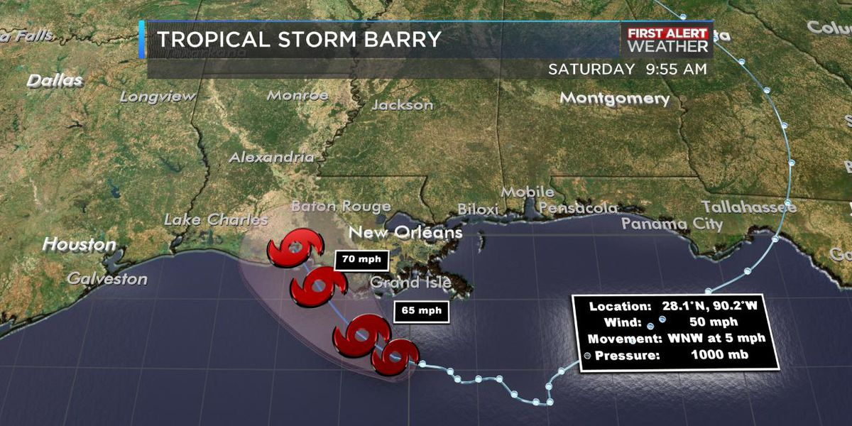 Storms refire today, Barry still a tropical storm