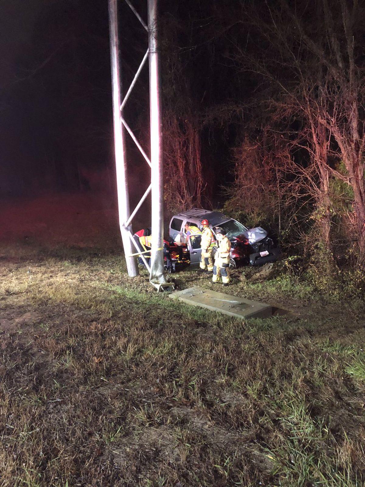 Crash injures two people, damages I-77 Express sign in ...