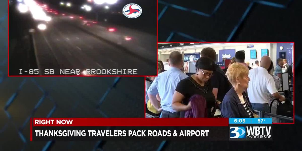 Thanksgiving travelers pack roads and airports