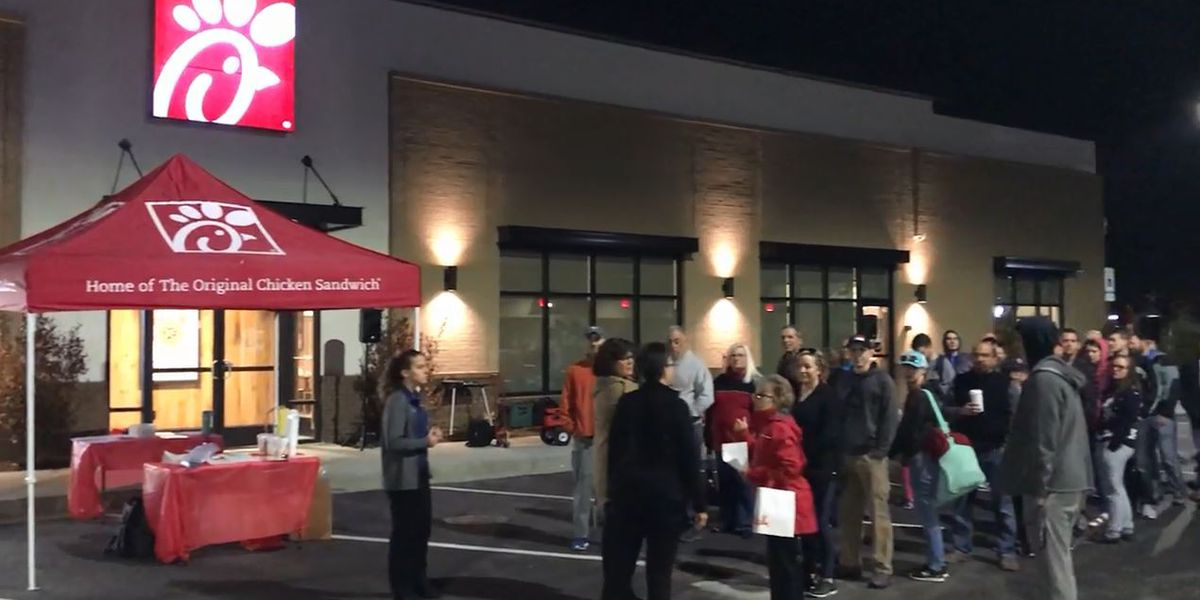 Crowds gather for chance at free Chick-fil-A for a year as newest area location opens