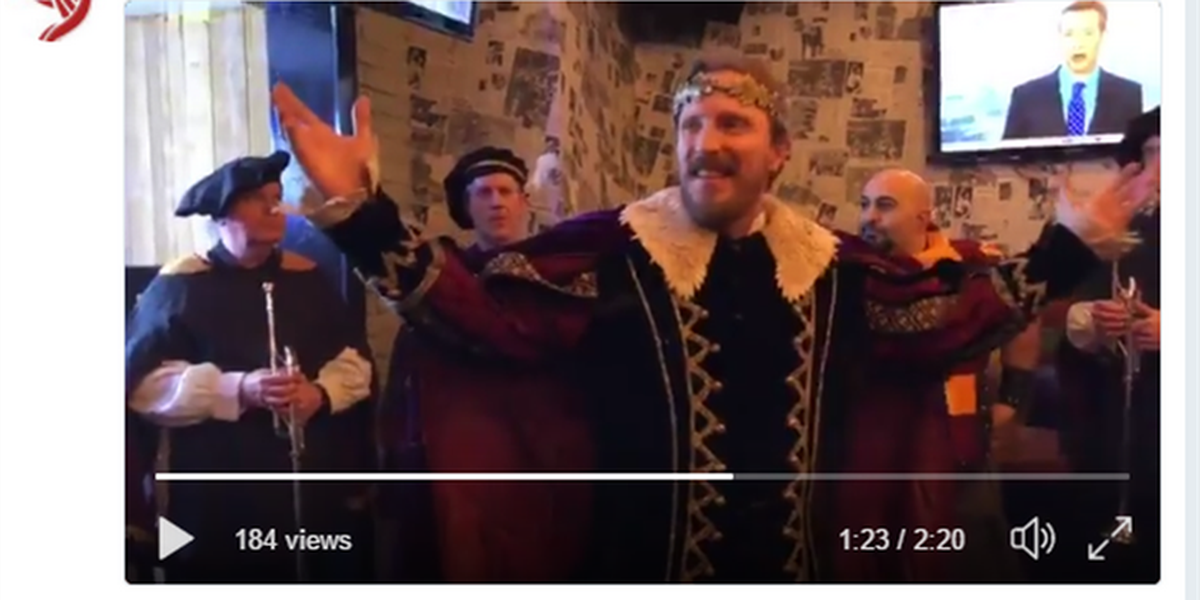 Bud's Dilly Dilly King, a Charlottean, shows up at bar to declare support for Loyola