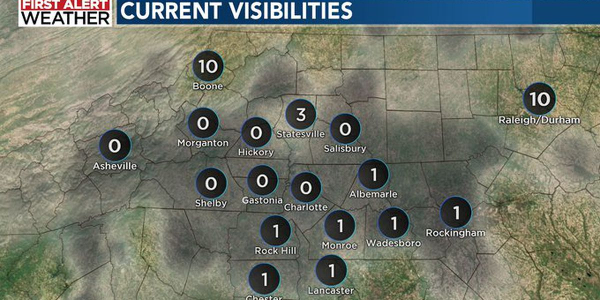 Fog blankets WBTV viewing area with many neighborhoods experiencing near-zero visibility