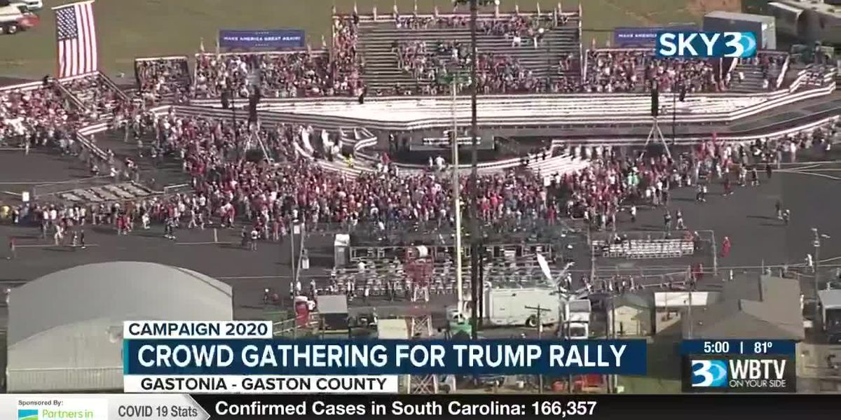 Crowd gathers ahead of Trump rally in Gastonia