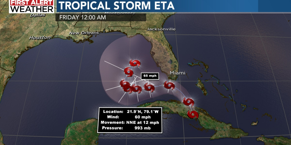 Eta re-strengthens into tropical storm, expected to move into Gulf