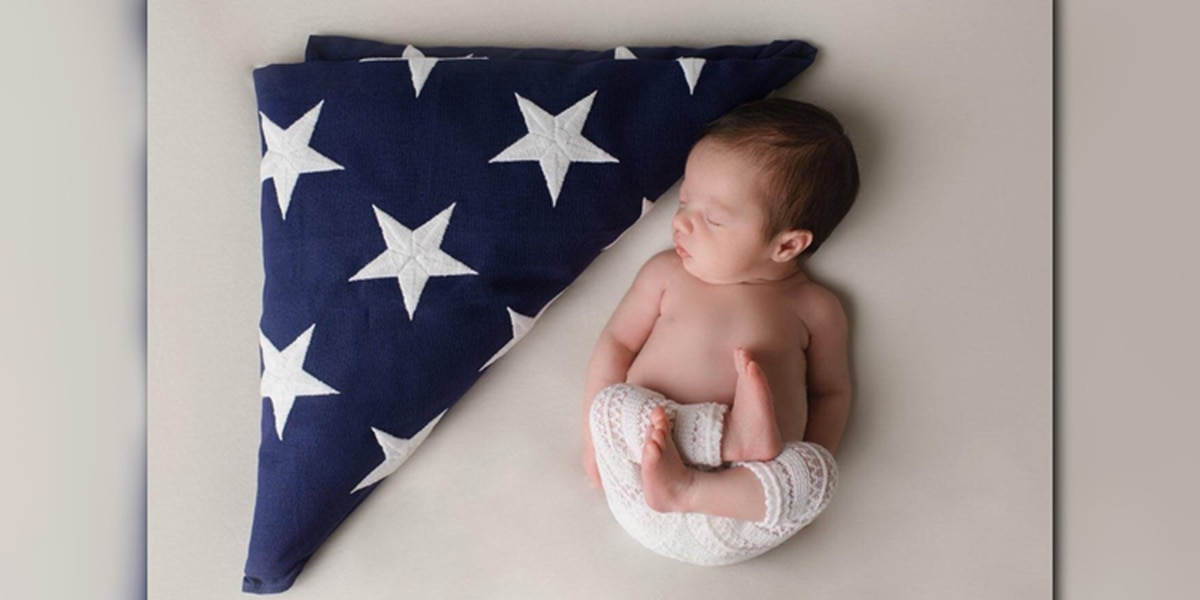 NC baby poses with gear of fallen soldier father she never met