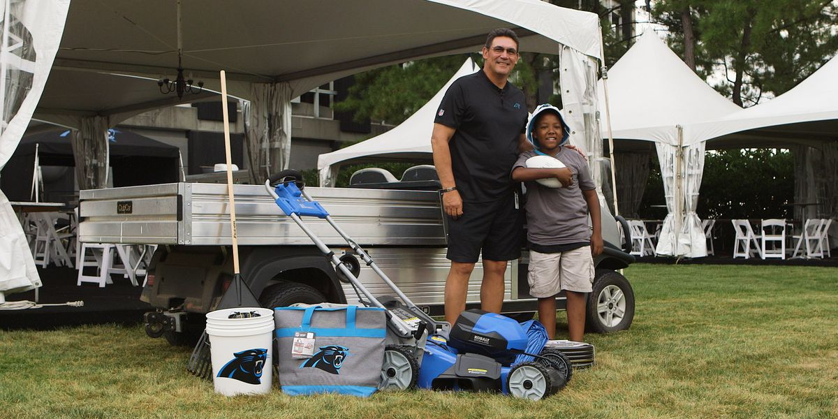 Carolina Panthers, Lowe's give personalized gifts to 12-year-old who mows lawns to pay for college