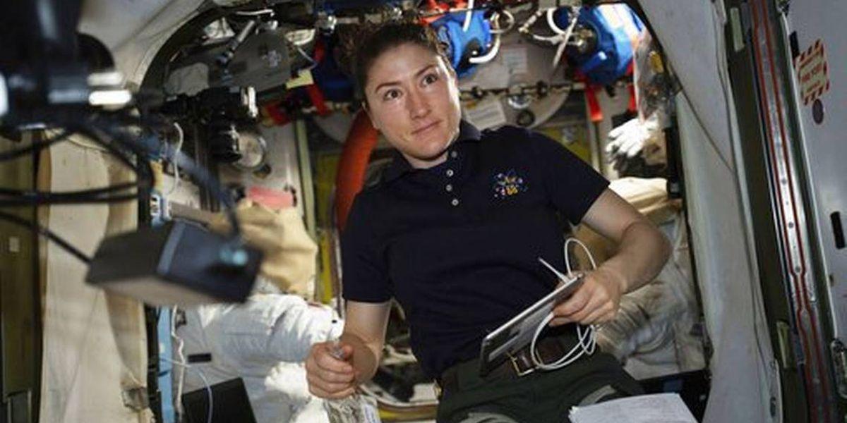 NASA astronaut Christina Koch sets a woman's longest space flight record