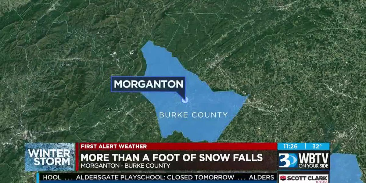 More than a foot of snow falls in Morganton