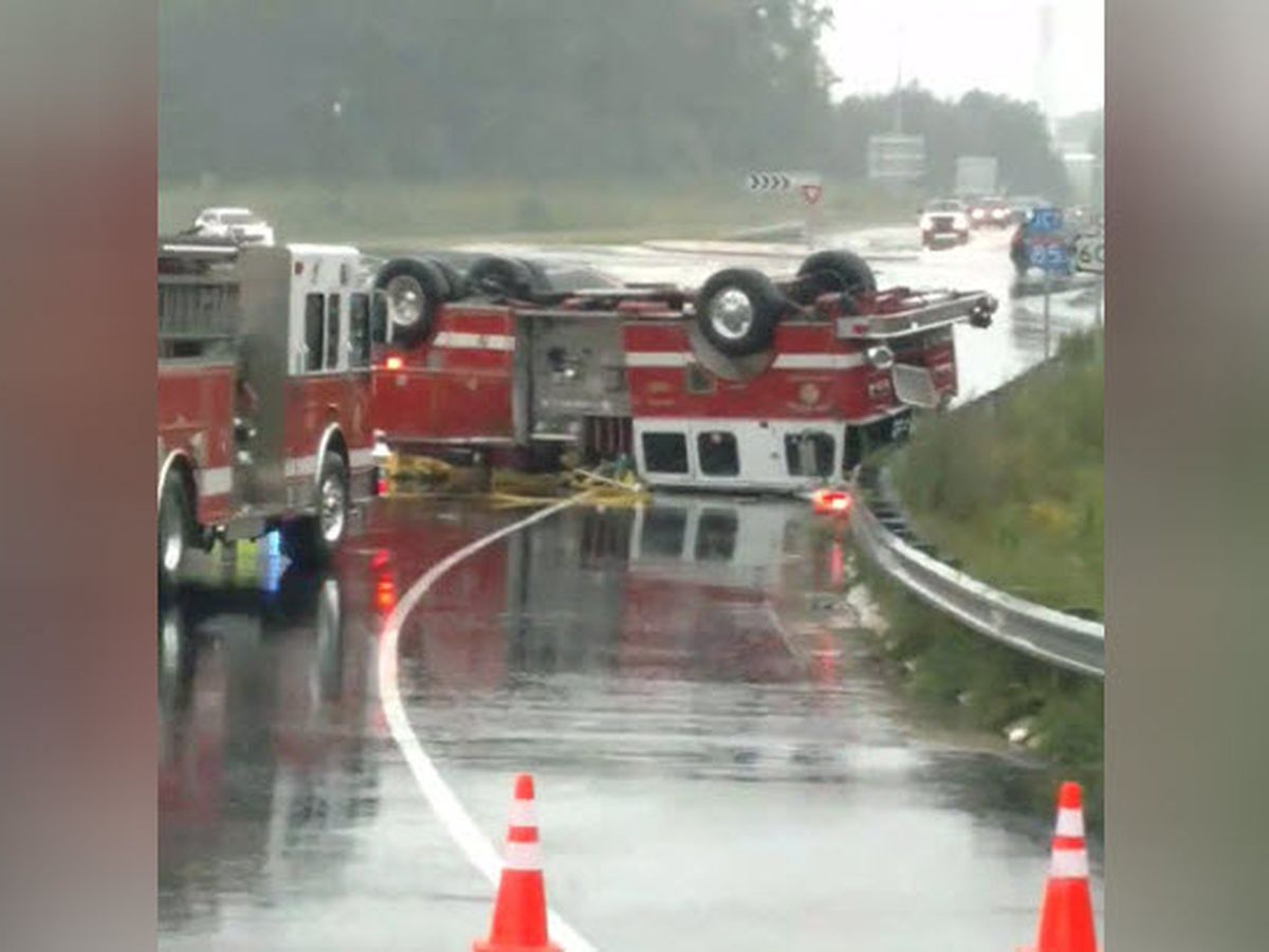 Firefighter injured when fire truck overturns near I-85 in China Grove