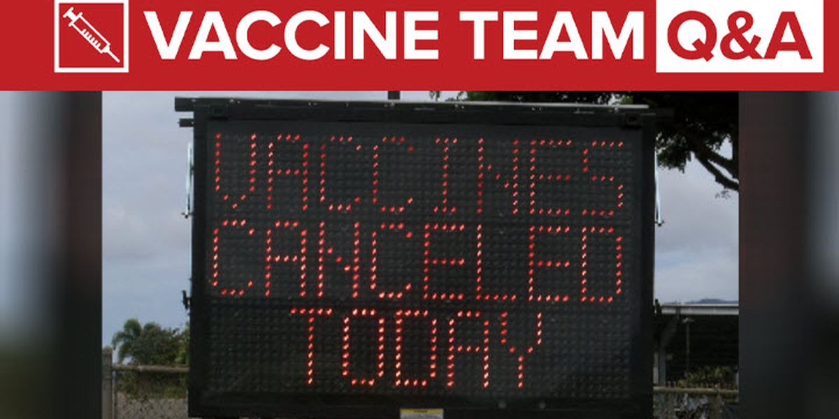 VACCINE TEAM: If canceled, when will my rescheduled vaccine appointment be?