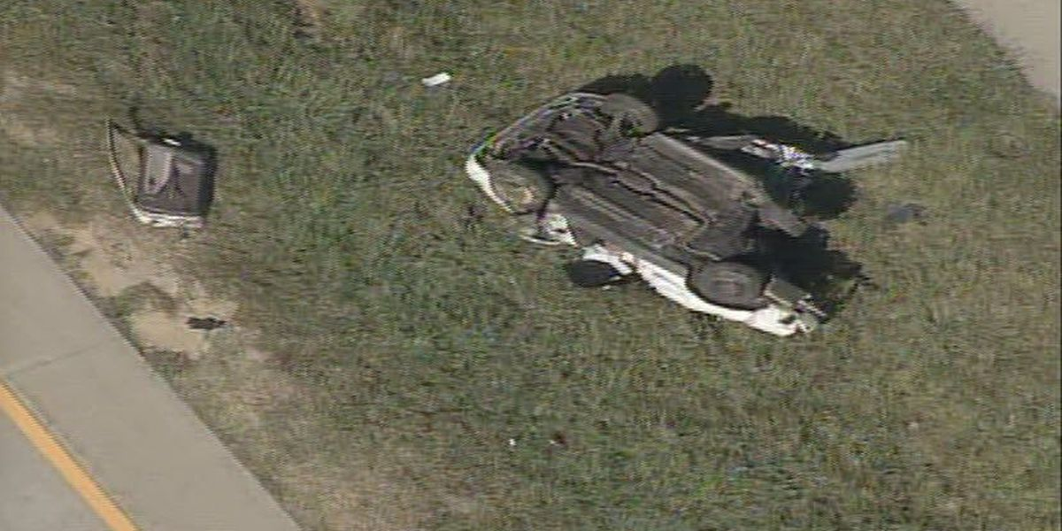 Two injured when vehicle overturns on I-485 in west Charlotte