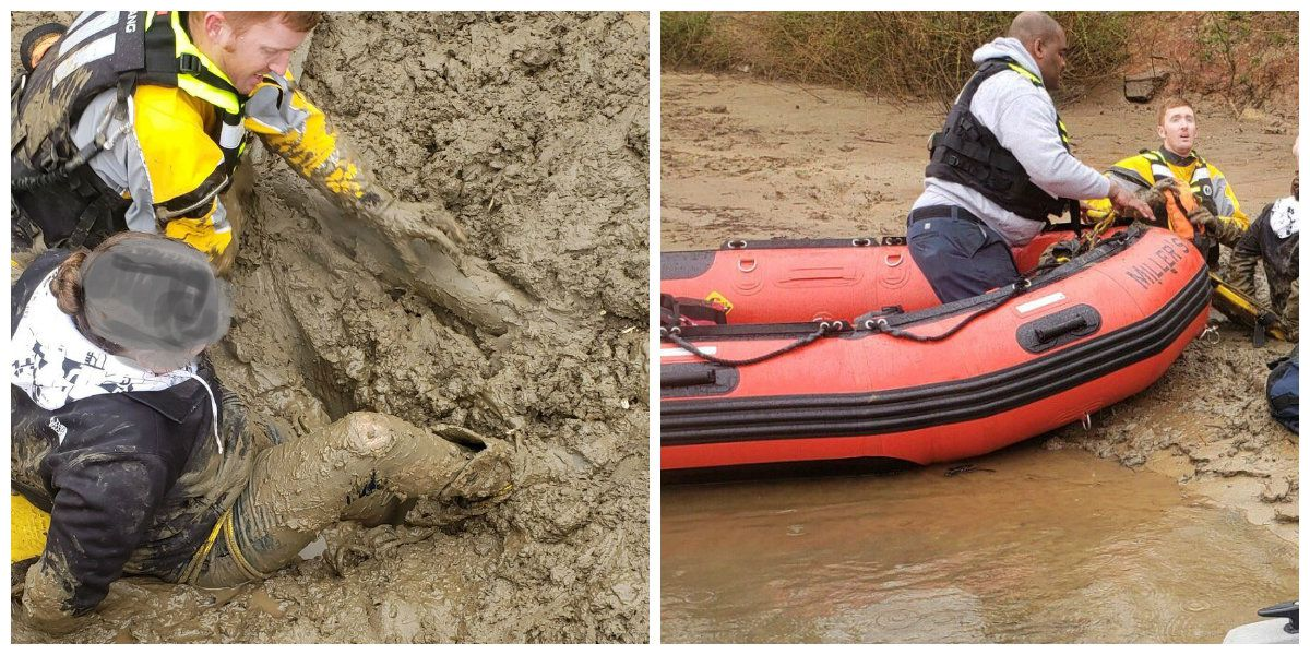 Firefighters rescue woman stuck in mud