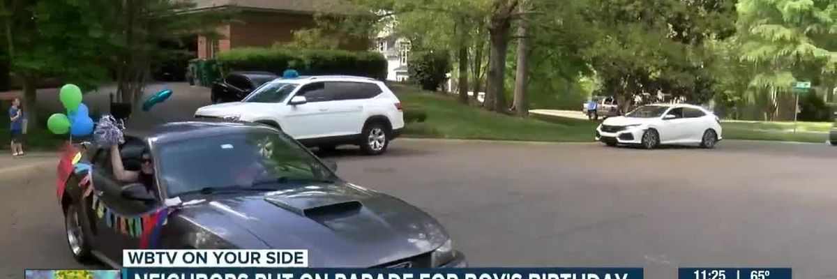 Neighbors have parade for boy's birthday in Charlotte