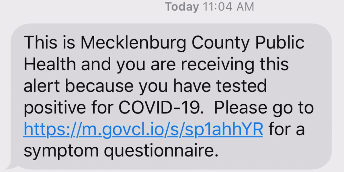 Mecklenburg County residents incorrectly sent text saying they were positive for COVID-19