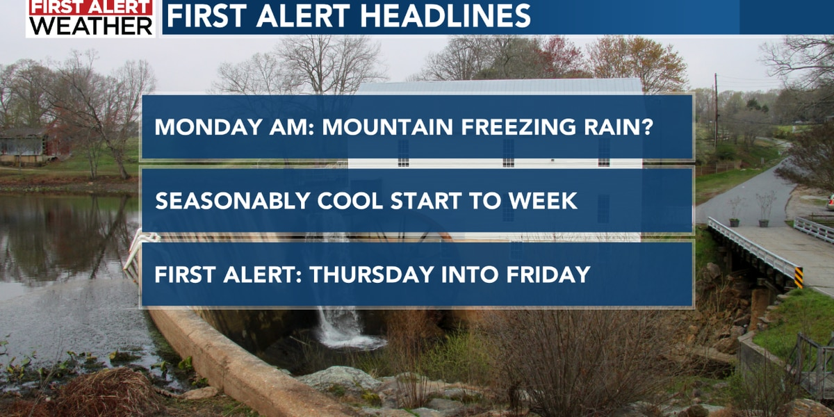 Patchy freezing rain in the mountains Monday morning; First Alert Thursday into Friday