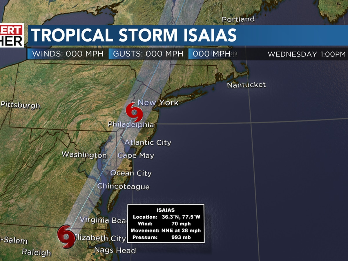 Isaias: Strong winds, heavy rainfall expected as tropical system races up the Eastern seaboard