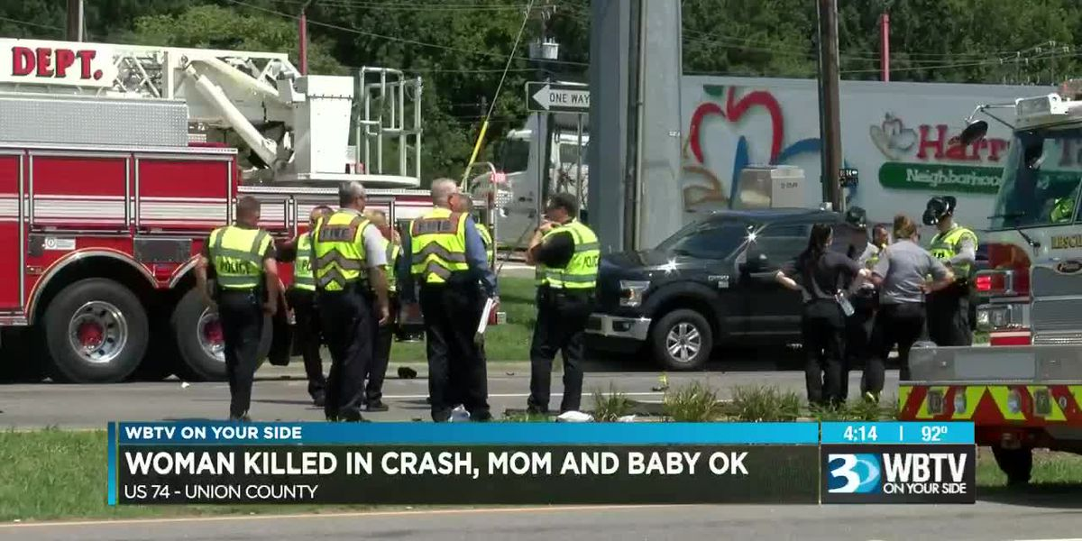Woman killed in crash, mom and baby OK