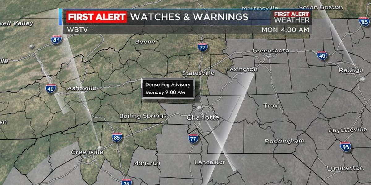 Dense Fog Advisory in effect, First Alert Day declared for Tuesday
