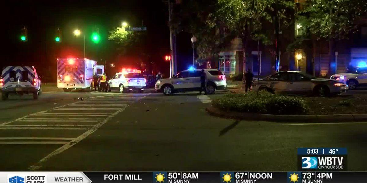 Huntersville officer involved in crash in uptown