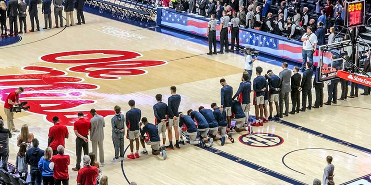 Ole Miss basketball players kneel during national anthem as tensions in Oxford rise
