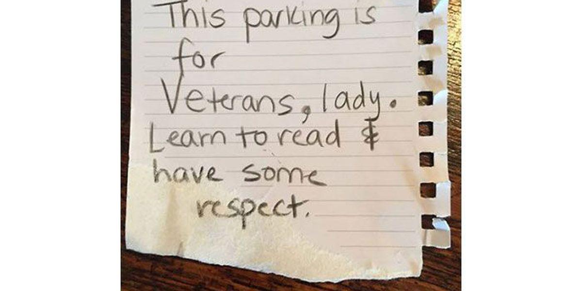 Female veteran says rude note left on car when parked in veteran spot